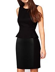 Dámské Black Scoop Neck Přední Podrobnosti Mini Dress