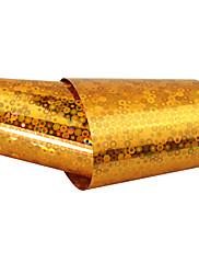 1PCSゴールデンサークルレーザー箔ネイルジュエリー星空ステッカー(150x6x0.1cm)