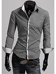男性用 プレイン カジュアル シャツ,長袖 コットン ブラック / レッド / ホワイト / グレー