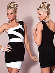 Party královna Black Noční klub Sexy Party Uniform s bílým pruhem (pro velikost M)