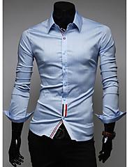 メンズカラーリボン装飾長袖シャツ