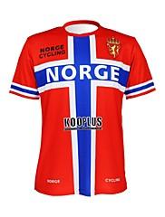 KOOPLUS - ノルウェーのナショナルチームポリエステル+ライクラ半袖赤+青サイクリングTシャツ