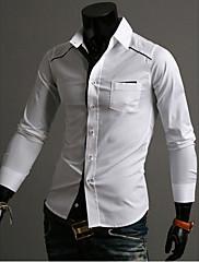 メンズ古典的な黒と白のコントラストカラーシャツ