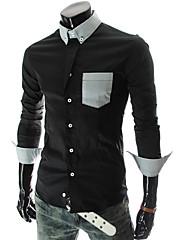メンズシルケット綿長袖シャツ