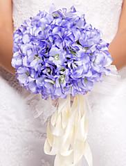elegante forma redonda ramo de novia de seda