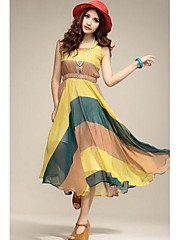 dámské ts-sexy houpačka barevných pruhů v pase maxi šaty (náhodné tisky)