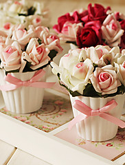 5 'h Mini lightish rosa arreglo floral