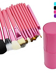 Nový profesionální 12PCS Kosmetické Makeup Brush Set Make-up Tool s koženým Cup Holder