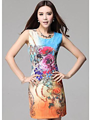 TS Floral Print Jednoduchost Slim Cut šaty