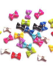 24PCS Mixs Candy Color Bowknot dizajn Nail Art Dekoracije