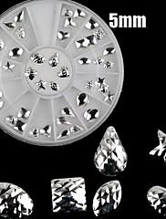 48ks 5mm Silver Mixed Rivet vzor Nail Art Dekorace