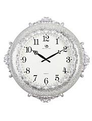 """22 """"H Elegantní stříbrný Floral embosované Polyresin Nástěnné hodiny"""