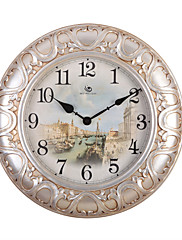 """22.8 """"H Vintage Floral Reliéfní Polyresin Nástěnné hodiny"""