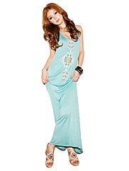 Sha Shi Meng Na Dámský Pásek Floral Print Long Light Blue Dress