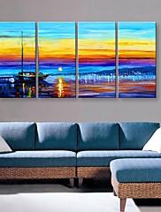 4のキャンバスの芸術の美しい港の風景画セット