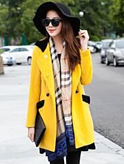 カジュアル/プラスサイズ - トレンチコート ( ウール )- 厚手 - 長袖