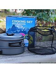 屋外のキャンプ、ハイキング調理器具バックパッキング調理ピクニックポットパンセット(7個)