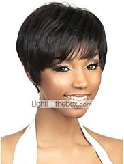 capless krátké černé lidské vlasy paruky
