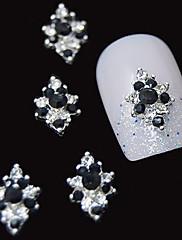 10個入りの3D黒いラインストーンのダイヤモンドの花DIYアクセサリー合金ネイルアートの装飾
