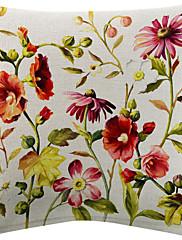 3美しい色鮮やかな花柄コットン/リネン装飾的な枕カバーのセット
