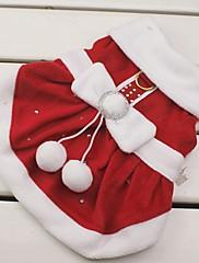 Gatos / Perros Disfraces / Vestidos Rojo Ropa para Perro Invierno Lazo Cosplay / Navidad / Año Nuevo