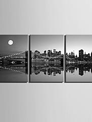 e-HOME® plátně umění noční scéna dekorace malování set of 3