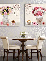 e-HOME® plátně umění vázu a květiny dekorativní malba sadu 2