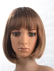 フル強打を持つキャップレス女性の短い茶色のストレートウィッグ
