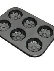 ケーキパンタルト用耐熱皿高品質炭素鋼6穴の花の形のベーキング金型
