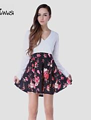 NUO WEI SI®  Women's Cut Flowers V Neck Long Sleevless Dress