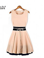 諾魏のSi®女性のコントラストカラーノースリーブスケーターのドレス