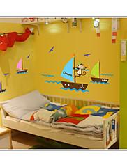 opice hledají vysněné lodičky v moři na stěnu zooyoo7043 odnímatelným PVC zvířat samolepky na zeď dekorativní DIY