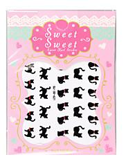 balení po 6 listů 3d nehtové obtisky na nehty nálepka zvířata roztomilé černé kočky QJ-3d-621-623