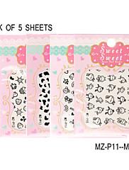 balení 5 listů 3d černá obtisky na nehty nálepka MZ-p11-15