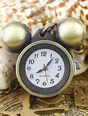 女性のミッキー柄のアナログクォーツポケットネックレス時計