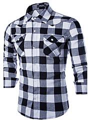 男性用 長袖 シャツ , コットン/ポリエステル カジュアル/オフィス プレイド&チェック