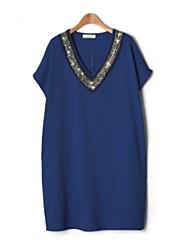 dámská ročník / pláž / Casual / party / práce / plus velikosti micro-elastický rukávů mini šaty (bavlna)