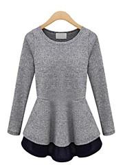 dámská casual / roztomilý / party / práce / plus velikosti mikro-elastický dlouhý rukáv mini šaty (bavlna)