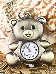 女性のクマのパターンアナログクォーツポケットネックレス時計