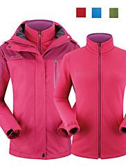 女性用 - 防水 / 高通気性 / 抗紫外線 / 防雨 / 防風 / 保温 / 取り外し可能なキャップ / リムーバブルフリース - キャンピング&ハイキング / 釣り / 登山 - ジャケット (グリーン / レッド / ダックピンク / サファイアブルー) - 長袖