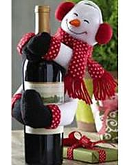 クリスマスディナーテーブルパーティの装飾(1セット)のためのワインボトル布カバーでサンタクロースと雪だるま