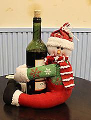 サンタ雪だるまは、クリスマスディナーテーブルパーティの装飾(1枚)のためのワインボトル布カバーに採用します