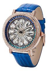 dámské luxusní Diamante volbou kožený kolo kapela quartz analogové náramkové hodinky (Smíšený Barva)