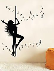 音楽 / ロマンティック / ファッション / 人物 / ファンタジー ウォールステッカー プレーン・ウォールステッカー , Vinyl stickers 106*127.5cm