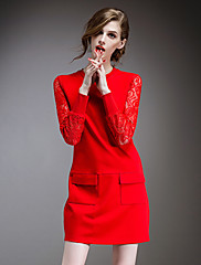 WOMEN - セクシー / レース - ドレス ( コットン / レース ラウンド - 長袖