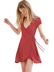 婦人向け セクシー シース ドレス,ストライプ 膝上 Vネック コットン / ポリエステル