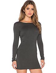 婦人向け セクシー ボディコン ドレス,ソリッド 膝上 ディープUネック モーダル