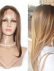 Kvinder Blondeparykker af menneskehår Menneskehår Blonde Front 130% Massefylde Glat Paryk Jet Sort Sort Mørkebrun Rødblondt Medium