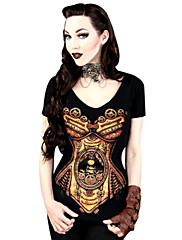ブラウス/シャツ クラシック/伝統的なロリータ コスプレ ロリータドレス ブラック プリント Tシャツ のために 女性用 ライクラ