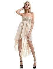 Dámské Sexy / Na večírek Šaty Jednobarevné Bez ramínek Asymetrické Polyester
